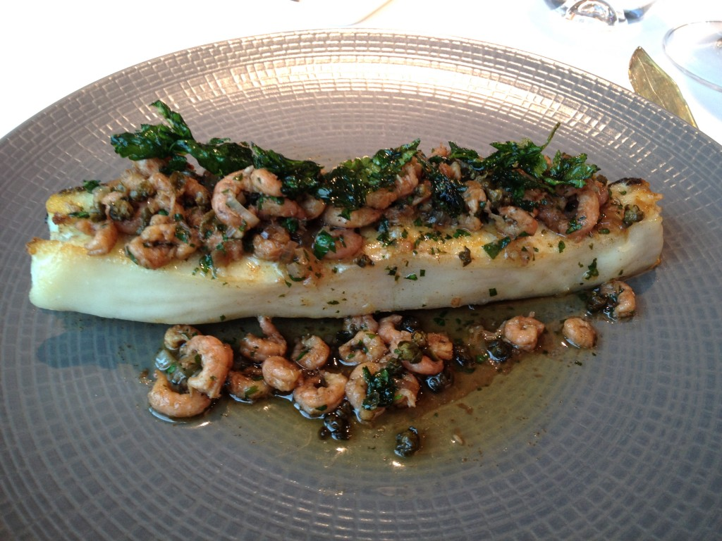 Roast Turbot, brown shrimp, capers, butter and parsley