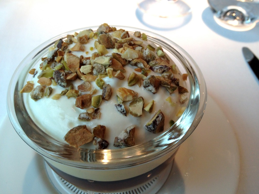 Caramel pear trifle, Pedro Ximinez jelly