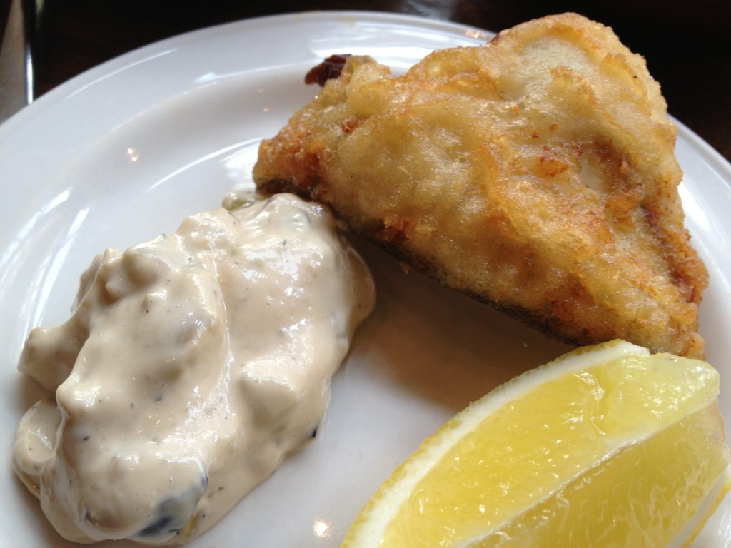 Turbot tempura with olive mayonnaise 