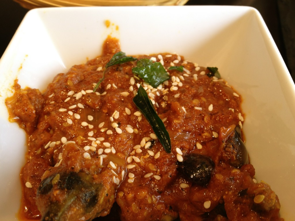 Sesame Baby Aubergine with mustard and curry leaf sauce
