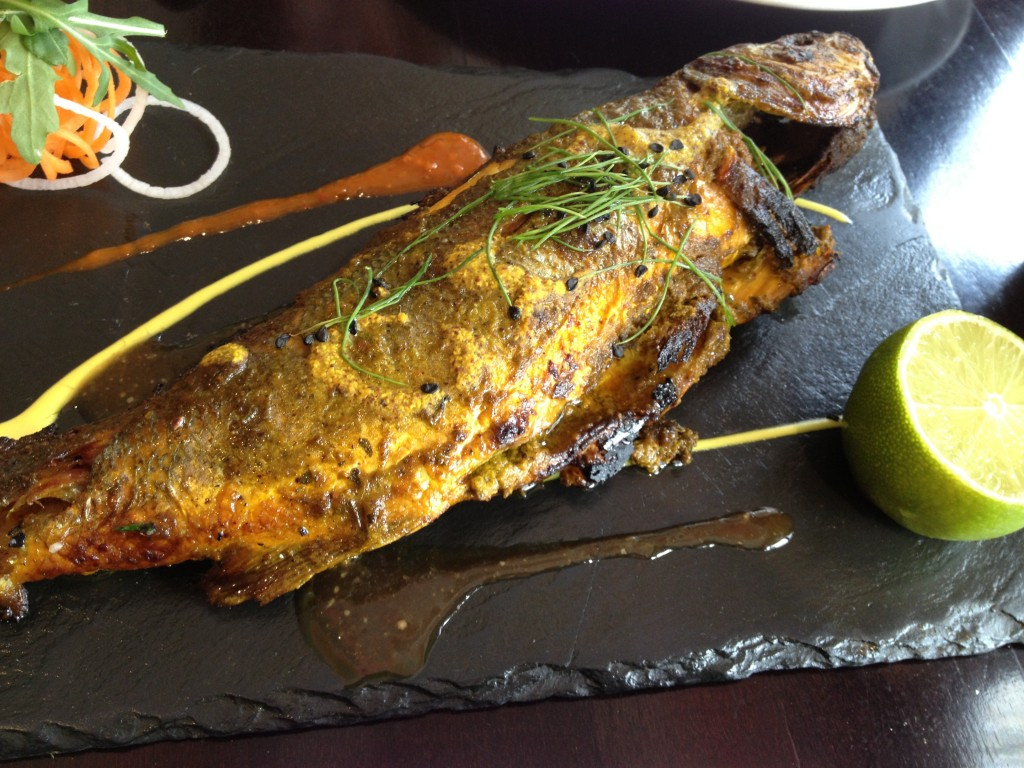 Whole Baked Sea Bass marinated in raw coastal spices