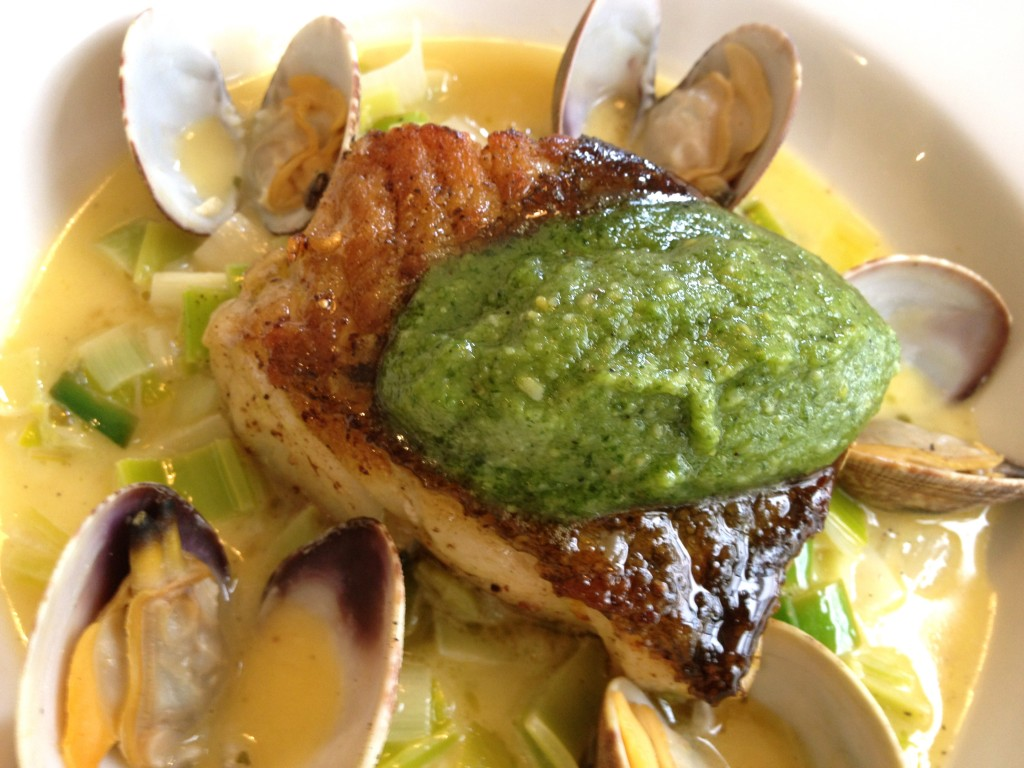 Roast Cod, Buttered Leeks, Clams, Chervil Pesto