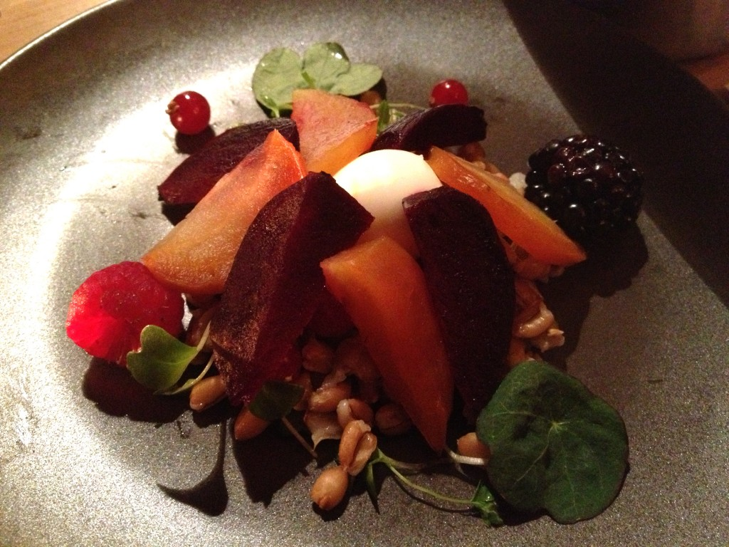 Heritage Beetroots, pearl spelt, wild herbs and pickled berries