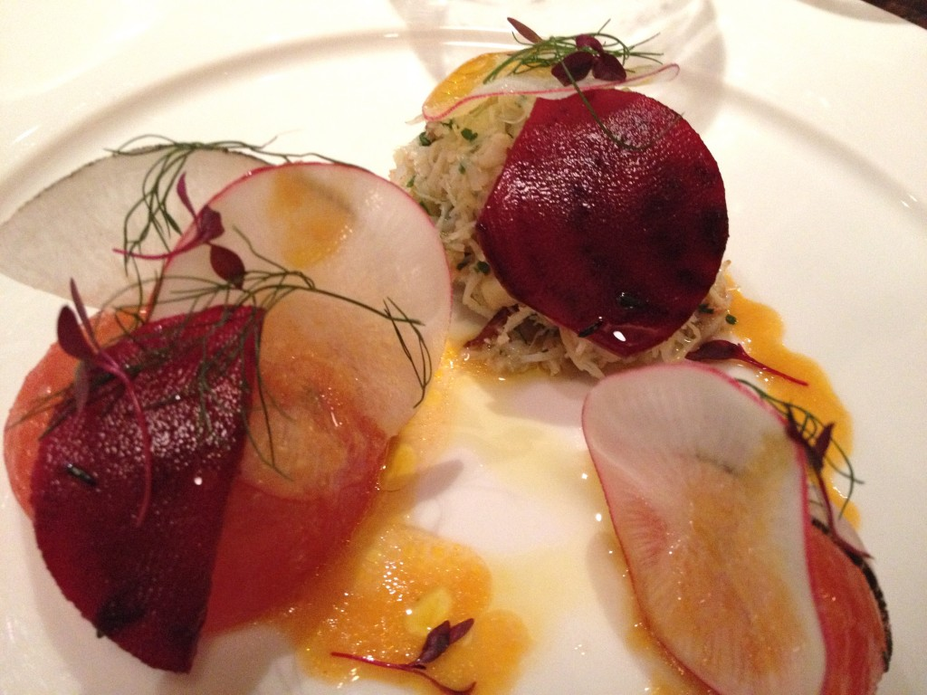 Crab, tomato and radish salad, miso tomato dressing, marinated beetroot