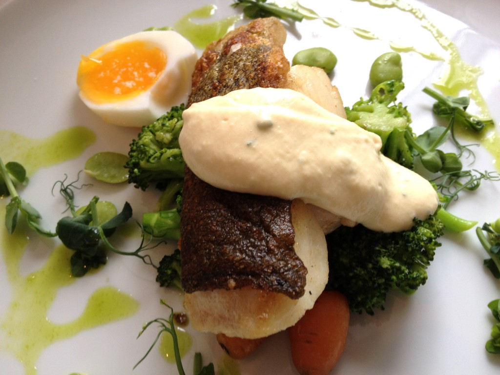 Cod, broad beans, soft boiled egg and aioli